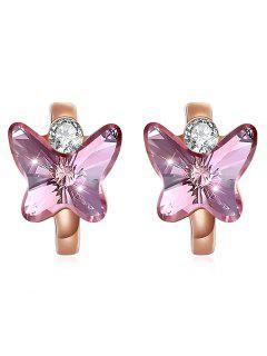 Vintage Crystal Butterfly Huggie Earrings - Hot Pink