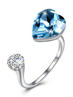 Rhinestone Inlaid Crystal Heart Cuff Ring - Sky Blue One-size