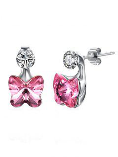 Crystal Butterfly Rhinestone Inlaid Stud Earrings - Hot Pink