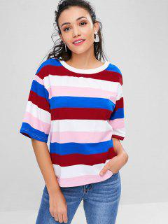 Half Sleeves Color Block Tee - Multi Xl
