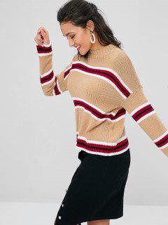 Crew Neck Striped Sweater - Brown Sugar