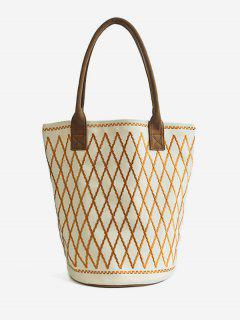Canvas Geometric Crisscross Shoulder Bag - White