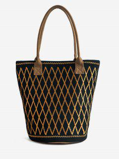 Canvas Geometric Crisscross Shoulder Bag - Black