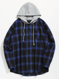 Chemise à Capuche Avec Poche à Carreaux - Bleu L