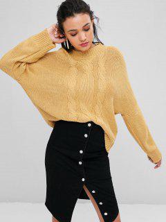Übergroße Cable Strick Sweater - Sonne Gelb