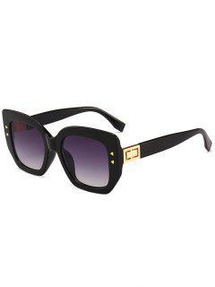 Gafas De Sol De Marco Completo Con Remaches Triangulares únicos - Negro