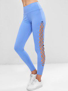 Cutout Interlace Side Spots Leggings - Sky Blue L