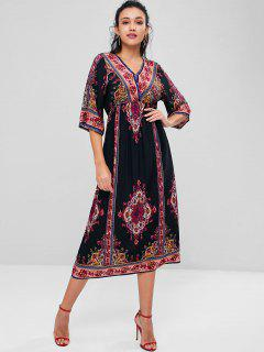 Printed Mid Calf Bohemian Dress - Multi L
