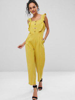 Square Neck Ruffle Wide Leg Jumpsuit - Yellow M