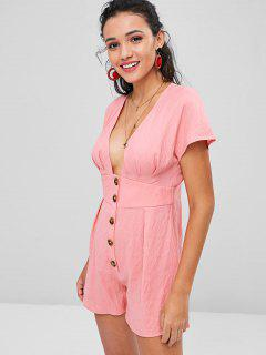 Low Cut Button Up Romper - Light Pink S