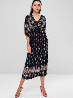 Printed Bohemian Mid Calf Dress - Black L