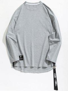 Side Zipper Curved Back Hem T-shirt - Dark Gray S