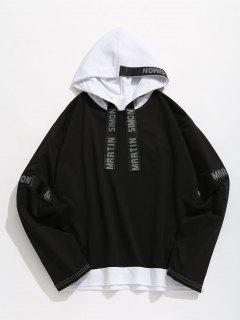 Contrasting Letter Stripes Patch Hoodie - Black 2xl