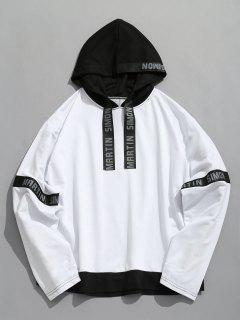 Contrasting Letter Stripes Patch Hoodie - White L