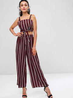 Striped Zip Top And Wide Leg Pants - Maroon L