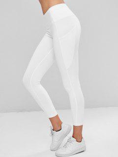 Compression Sports Leggings With Pockets - White M