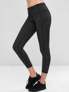 Compression Sports Leggings With Pockets - Dark Gray M