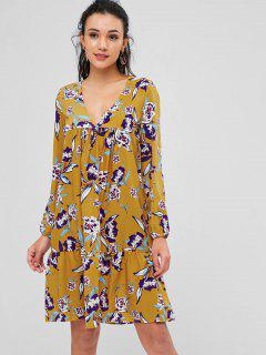 Empire Waist Floral Print Dress - Golden Brown L