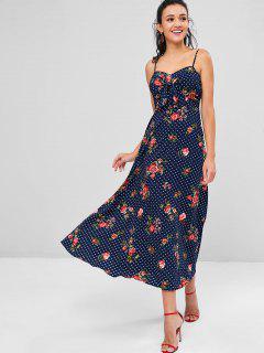 Vestido Largo Con Estampado Floral Y Lunares - Lapislázuli Xl