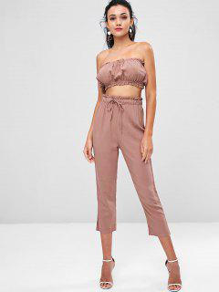 Bandeau Top And Joggers Pants Co Ord Set - Lipstick Pink M