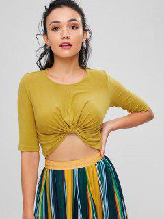 Twist Front Cropped Tee - Bee Yellow S