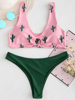 Cactus Print Contrast Knot Bikini Set - Light Pink L