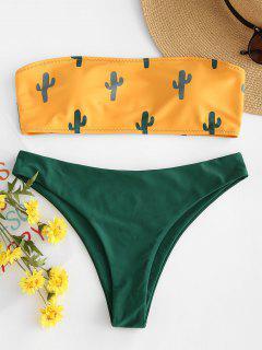 Kaktus Druck Bandeau Bikini - Niedliches Gummi Gelb M