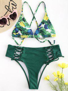 Palm Leaf Lace-up High Waisted Bikini Set - Deep Green L