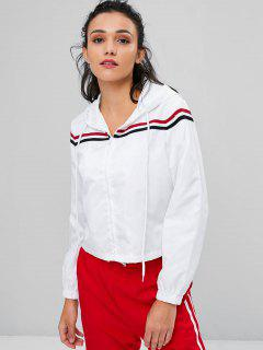 Striped Patched Hooded Jacket - White S