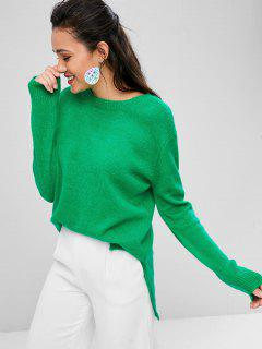 Loose High Low Slit Sweater - Green L