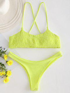 Schnürung Kreuz Riemchen Smocked Bikini - Gelb M