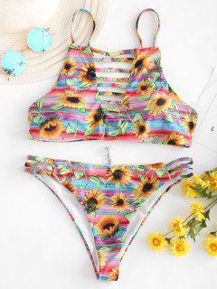 Bikini De Girasol Con Corte De Escalera - Multicolor M