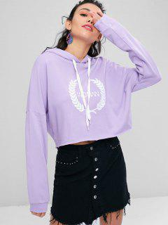 Cropped Oversized Graphic Hoodie - Mauve L