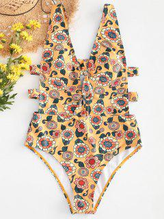 Backless Floral Knot Ladder Cutout Swimsuit - Bee Yellow M