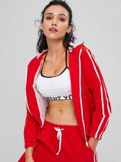 Contrasting Mesh Zip Up Jacket - Lava Red L