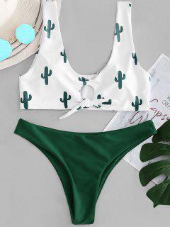 Bikini En Ensemble à Nœud Contrasté Et Imprimé Cactus - Blanc L