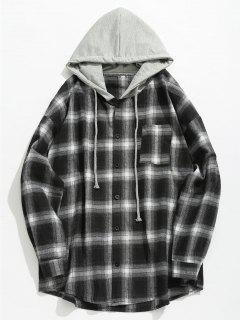 Chest Pocket Check Hooded Shirt - Black Xs
