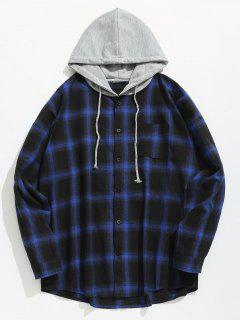 Chest Pocket Check Hooded Shirt - Blue L