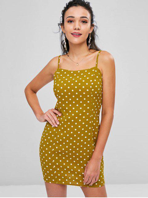 unique Back Zipper Polka Dot Mini Dress - COOKIE BROWN XL Mobile