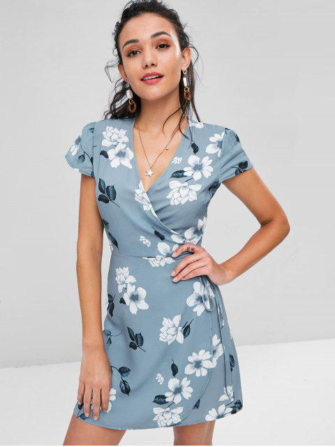 chic Mini Floral Print Wrap Dress - BABY BLUE L Mobile