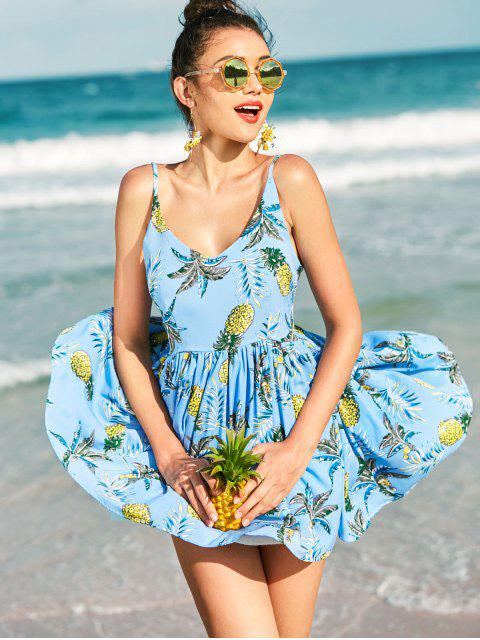 ladies Pineapple Smocked Cami Dress - SILK BLUE L Mobile