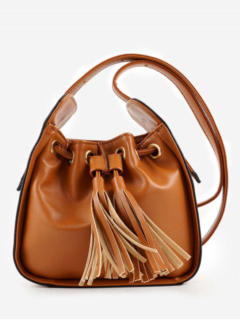 new Chic Minimalist Tassels Solid Crossbody Bag - BROWN  Mobile