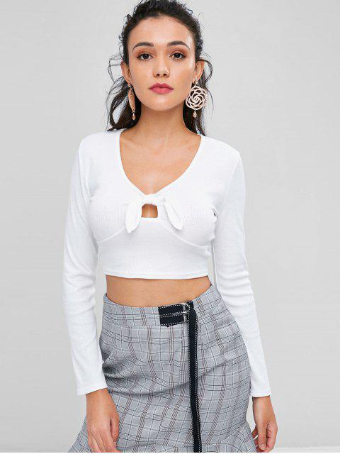 fancy Knotted Crop T-shirt - MILK WHITE L Mobile