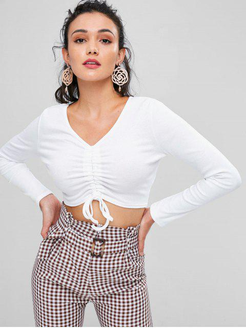 lady Crop Cinched Tee - MILK WHITE L Mobile
