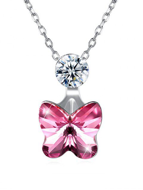lady Elegant Crystal Butterfly Pendant Chain Necklace - HOT PINK  Mobile