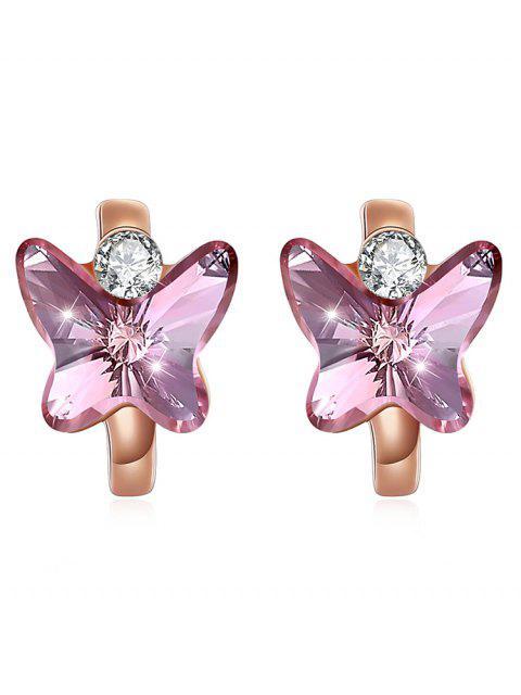 Boucles d'oreilles Huggie Vintage Crystal Butterfly - Rose Vif  Mobile