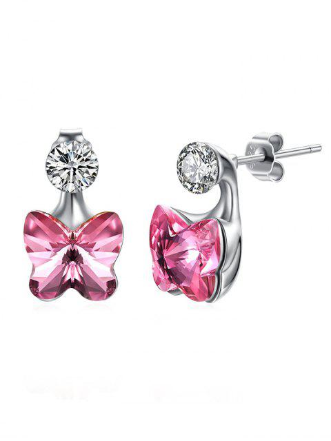 chic Crystal Butterfly Rhinestone Inlaid Stud Earrings - HOT PINK  Mobile