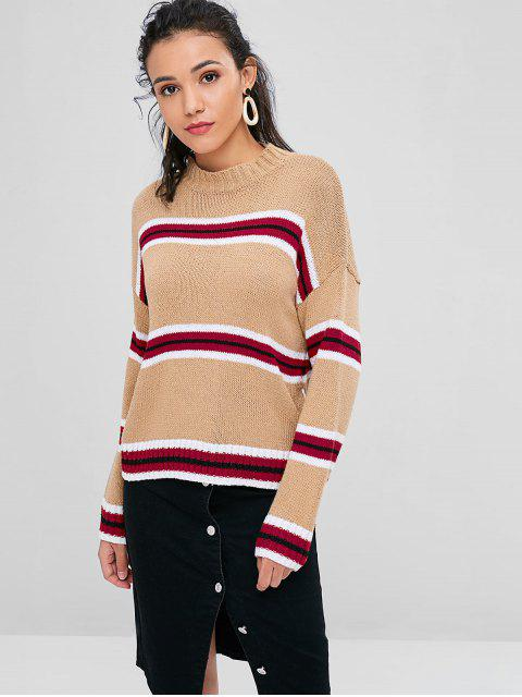 best Crew Neck Striped Sweater - BROWN SUGAR ONE SIZE Mobile