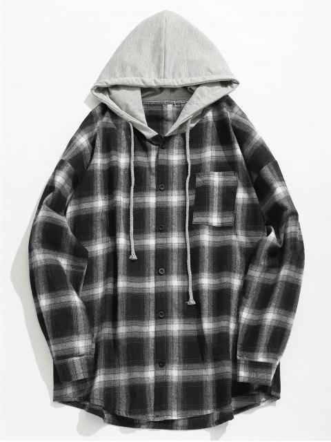 Brust Tasche Kariertes Hoodie Shirt - Schwarz L Mobile
