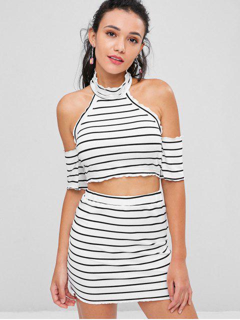 women Cold Shoulder Striped Skirt Set - WHITE XL Mobile